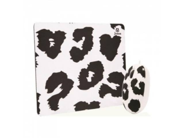 Combo Mouse y Mouse Pad JETION JT-DMS046 blanco y negro