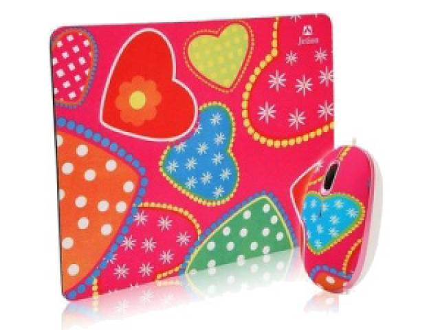 Combo Mouse y Mouse Pad JETION JT-DMS046 corazones