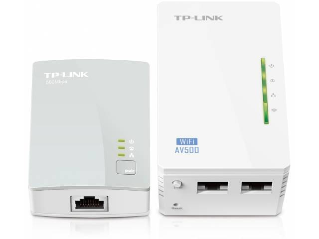 Adaptadores de Red a Corriente Wi-Fi AV500 TP-LINK TL-WPA4220 KIT Powerline 300 Mbps WiFi ( KIT 2 Unidades)