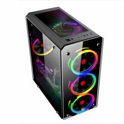 Gabinete Gamer Shot Gaming 8416 Lateral y Frontal Transparente
