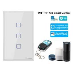 Interruptor Inteligente Sonoff T2US3C-TX táctil de pared  3 Pulsadores WiFi y RF