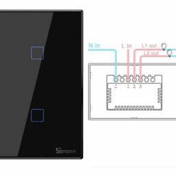 Interruptor Inteligente Sonoff T3US2C-TX táctil de pared  2 Pulsadores WiFi y RF
