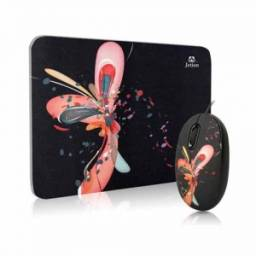 Combo Mouse y Mouse Pad JETION JT-DMS046 mariposa fondo negro