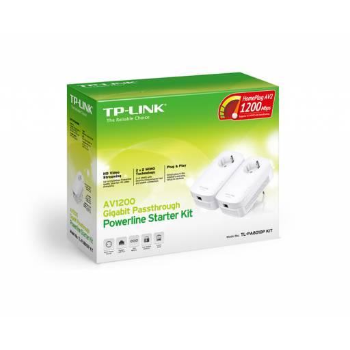 Adaptadores de Red a Corriente AV1200 TP-LINK TL-PA8010P KIT  Powerline PassThrough Gigabit ( KIT 2 Unidades)