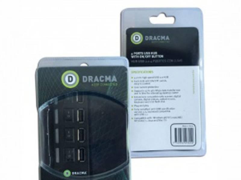 HUB USB 4 Puertos Dracma USB 2.0 C/Llave